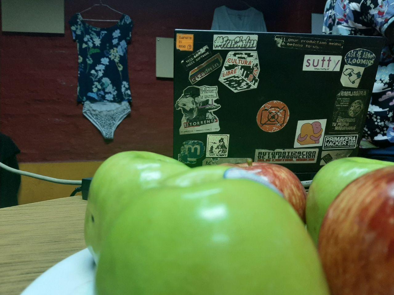 Manzanas, stickers en la compu y de fondo, la exposición del CC Tierra violeta
